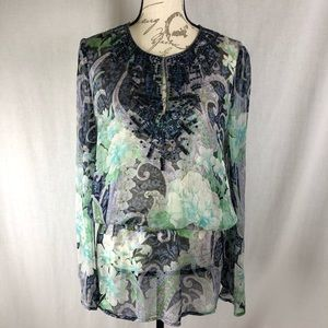 Cache Sheer Silk Sequin Embellished Tie Waist Top